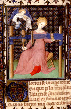 The Virgin Mary tablet weaving. Medieval picture